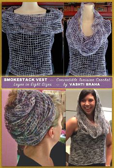 Convertible easy-steek Tunisian crochet net layer for Early Fall 2016. The Smokestack Vest pattern is written for eight sizes, from Small to Plus size 5X, and is downloadable from the Designingvashti shop and Ravelry. The lower right photo was taken by Lorraine McAndrews in the Steeking Tunisian Crochet class at the CGOA national conference in Charleston SC, July 2016. Tiffany Yurgionas graciously modeled the freshly steeked Smokestack. See also issues #79 and #80 of Vashti's Cro...