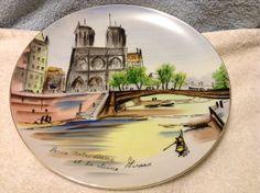 Vintage Painted Plate  Paris Notre Dame by by RobandJensOddsnEnds