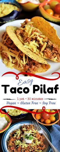 Taco Pilaf is vegan, gluten free, and soy free and packed with veggies and protein then topped with your favorite fixings! thehiddenveggies.com