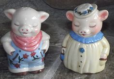Dept 56 Beautiful Set of Pig Salt and Pepper Shakers Set Mint
