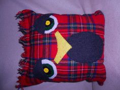 Owl pillow red plaid primitive home decor recycled by JulieAnnMade