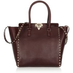 Valentino Studded textured-leather tote ($1,895) ❤ liked on Polyvore featuring bags, handbags, tote bags, purses, bolsas, valentino, burgundy tote bag, red purse, red tote handbags and burgundy tote