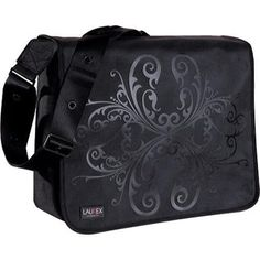 "This messenger bag features exterior graphic designs, an exterior magazine pocket, a full featured organizer main compartment with a padded laptop compartment that fits most 15"" laptops. It has an interior zipper pocket, and an adjustable"