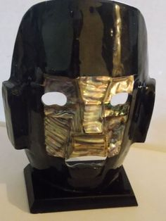 Vintage Mayan Art Abalone Shell Burial Death Mask H 18.5 cm