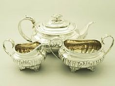 A fine and impressive antique George IV English sterling silver three piece tea service / set; part of our silver teaware collection  http://www.acsilver.co.uk/shop/pc/Sterling-Silver-Three-Piece-Tea-Service-Antique-George-IV-96p3384.htm