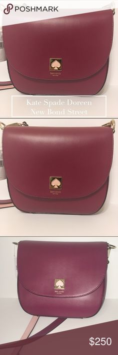 Kate Spade Doreen New Bond Street Red Plum NWT Authentic Kate Spade red plum leather cross body purse. This beautiful designer handbag is accented with hot pink details. This bag is in brand new condition. One small scratch pictures in last image. No indentation or discoloration in the bag (just want to bs fully transparent). Original instruction guide inside. kate spade Bags Crossbody Bags