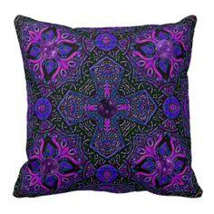 Celtic Amethyst Butterfly Mandala Pillow
