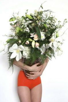 wild flower bouquet accessorised with the perfect orange pants