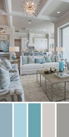 7 Best Living Room Color Schemes Sure to Brighten Your Mood ~ Popular Living Room Design Source by Coastal Living Rooms, Living Room Modern, Interior Design Living Room, Living Room Designs, Turquoise Living Rooms, Beach Themed Living Room, House Of Turquoise, Interior Design Color Schemes, Turquoise Home Decor