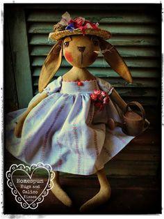 Primitive Bunny Rabbit by Homespun Hugs and Calico Kisses Primitives