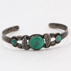 VTG Sterling Silver - NAVAJO FRED HARVEY Era Green Turquoise Cuff Bracelet - 11g