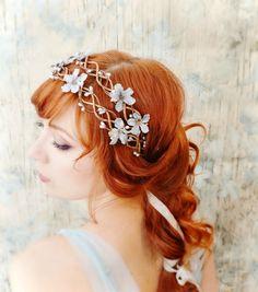 Floral vine crown, blue floral head piece, silver wedding head wreath, bridal hair accessories. $60.00, via Etsy.