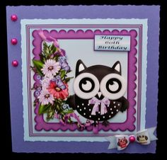 Owl be Seeing on Craftsuprint designed by Gail Collins - made by Suzi Cooper - I imported into a graphics programme to add a greeting to the blank tag then printed 3 times onto glossy photo card. I matted