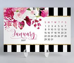 2017 Desk Calendar with Clear Acrylic Stand Blue  White Stripe Pink Floral Planner Cards Office Gift 4 inches x 6 inches Christy black