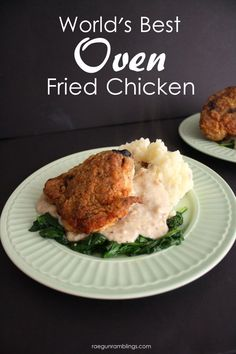 Hands down the best oven fried chicken recipe. I make this for family dinner all the time and it turns out great.