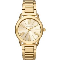 Michael Kors MK3490 gold-toned stainless steel watch ($220) ❤ liked on Polyvore featuring jewelry, watches, bracelets, stainless steel wrist watch, michael kors, gold colored jewelry, michael kors jewelry and stainless steel jewelry