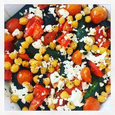 Légumes de saison recette heathly courgettes pois chiche tomates feta