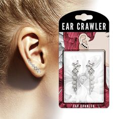Pair of CZ Set Lined Square Ear Crawler Ear Climber Earrings