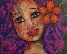 """Girl with cayena"" Acrilyc  on canvas. Elsa Sanguino- 2012"