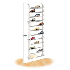 this strong steel and polymer shoe rack holds 36 pairs of shoes or 36 shoeboxes