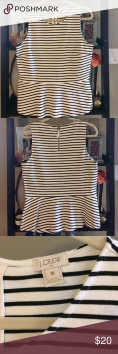 J.Crew - Ponté Peplum Stripe, Zip Back Tank - Med. J.Crew - Ponté Peplum Stripe, Zip Back Tank - Navy and White Stripe - Size Medium - machine washable - excellent used condition - super cute & flattering! J.Crew Factory Tops Tank Tops