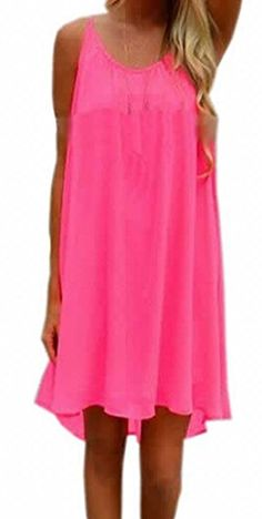 Generic Womens Casual Sleeveless Backless Solid Color Sundresses Pink XLarge *** Read more reviews of the product by visiting the link on the image.