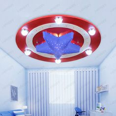 30W LED Ceiling Light Pendant Lamp Chandelier Captain American Hero Kid s Room