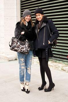 Jessica Minkoff (left), Associate Market Editor: Helmut Lang jacket, Zara jeans, Balenciaga bag.Rae Boxer (right), Senior Market Editor: Celine bag, Sandro jacket, Zara skirt, Topshop shoes, vintage sweater.