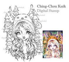 Descargar Aurora bosque - sello Digital instantánea / árbol de Navidad de renos animales fantasía hadas dulce arte por Ching-Chou Kuik