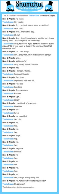 A conversation between Nico di Angelo and Thalia Grace