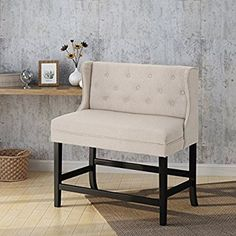 Christopher Knight Home Laraine Winged Tufted Fabric 2 Seater 28 Inch Barstool, Wheat Bar Height Bench, Comfortable Dining Chairs, Bar Areas, Extra Seating, Dining Bench, Kitchen Dining, Bar Stools, Love Seat, Christopher Knight