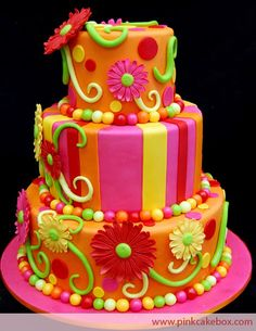 bright whimsical fun decorated cake http://ediblecraftsonline.com/ebook2/mybooks73.htm?hop=megairmone