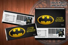 BATMAN Printable Candy Bar Wrappers - for Batman Birthday Party, Superhero Birthday Party. $5.00, via Etsy. -Tyler 2nd
