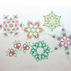 Flower or Snowflake tatting pattern collection PDF with or