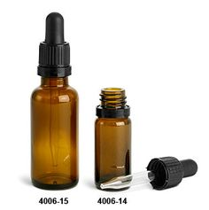 Glass Bottles, Amber Glass Rounds w/ Black Tamper Evident Glass Droppers