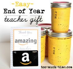 Easy Mason Jar Teacher Gift- these look alike No. 2 pencil mason jars are ADORABLE!