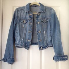 American Eagle Crop Jean Jacket Light wash denim and distressed. Worn once or twice, like new. American Eagle size M American Eagle Outfitters Jackets & Coats Jean Jackets