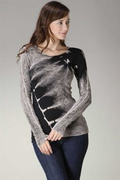 This basic  top made of a super soft thermal cotton. It features diagonal mineral washed tie dye design in Charcoal and Grey, long sleeves and scoop neckline.  Due to nature of tie dyed material , the intensity of color can vary!  100% cotton Mineral washed tie dye design  Made in USA  In...