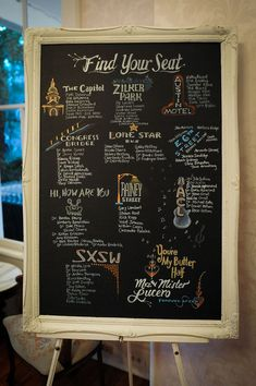 Hand drawn chalkboard seating chart | Baby Pink & Turquoise Wedding In Austin Texas | Photograph by Click Chick Images  http://www.storyboardwedding.com/modern-come-vintage-austin-texas-wedding-in-baby-pink-turquoise/