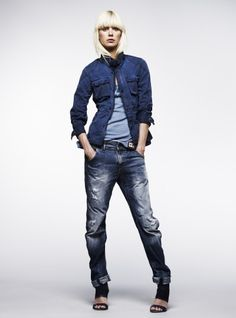 denim code... | jeans shirt | double denim | jeans | hot | blonde | casual urban look | fashion editorial
