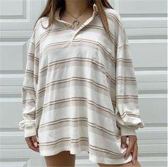 Striped Loose Fitting Sweatshirts – aromiya Retro Sweatshirts, Printed Sweatshirts, Hoodies, Collared Sweatshirt, Stripe Print, Long Sleeve Sweater, Types Of Sleeves, Casual, Fashion Top