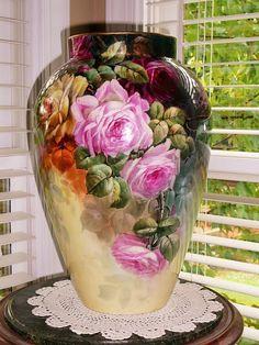 """Wonderful Huge 16"""" D&C Limoges vase with Roses"""