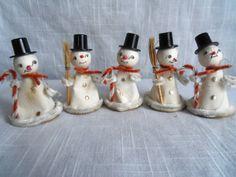 Vintage Japan Snowman Spun Cotton Chenille Flocked Ornament Set of 5