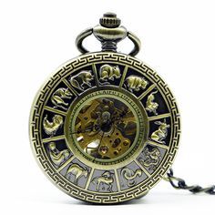 Sale 18% (12.99$) - Fashion Zodiac Roman Numerals Machanical Pocket Watch Creative Pendant Necklace