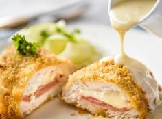 My EASY Chicken Cordon Bleu recipe. All the flavour, all the crunch, healthier and far easier! Served with an incredible Dijon cream sauce. Coconut Curry Chicken, Garlic Chicken, Chicken Curry, Baked Chicken, Easy Chicken Cordon Bleu, Cordon Bleu Recipe, Recipetin Eats, Easy One Pot Meals, Baked Pork Chops