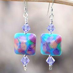Handmade Lampwork Earrings Turquoise Lavender Pink OOAK Beaded Jewelry | ShadowDogDesigns - Jewelry on ArtFire #AFPOUNCE