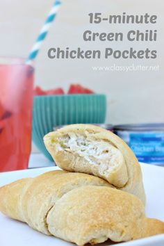 Green Chili Chicken Pockets - This recipe is so easy and so delicous! Definitely a must for quick family dinners! - Click for recipe | www.classyclutter.net
