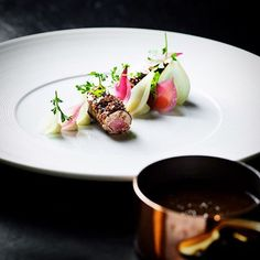 """Rendition of the Danish dish """"Forloren Hare"""" - rabbit, bacon, onions and berries - by @kokkeriet"""