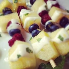 Fruit Kabobs with Ginger Lemon Yogurt Sauce - Simple, delicious, and full of protein for a great summer snack!