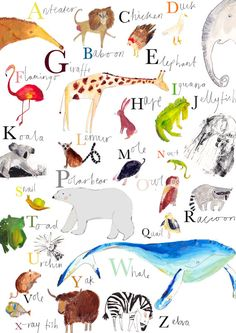 AZ Animal Wall Chart. Limited Edition Print by por FayeBradleyShop, £24.95